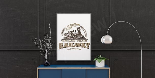 Plakat pociąg vintage
