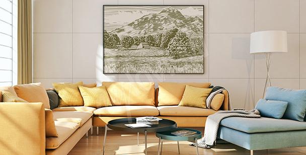 Plakat pole w górach