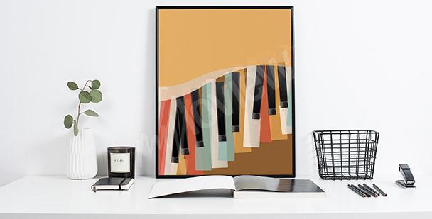 Plakat retro fortepianowe klawisze