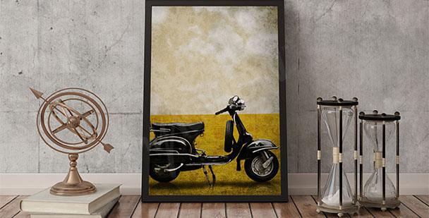 Plakat retro motocykl