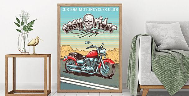 Plakat retro z klasycznym motorem