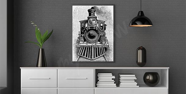Plakat rysunek lokomotywy