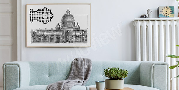 Plakat rysunek rzymskiej architektury
