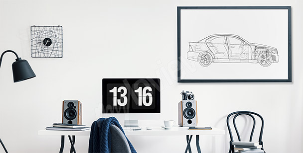 Plakat rysunek samochodu