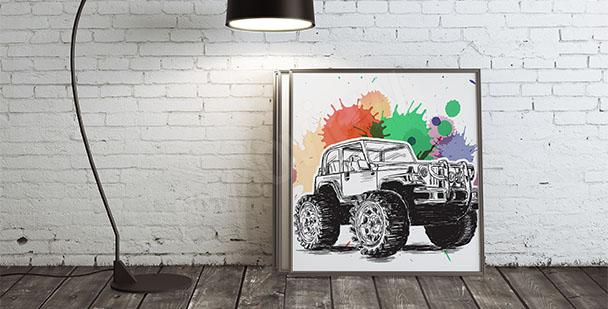 Plakat samochód monster truck