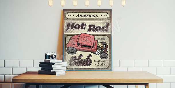 Plakat samochód retro