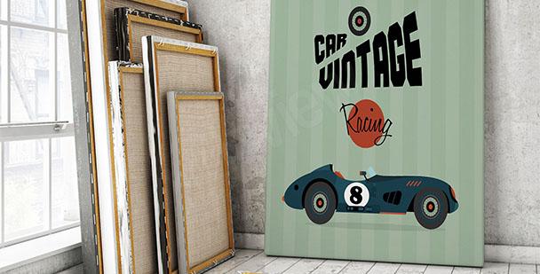 Plakat samochód wyścigowy vintage