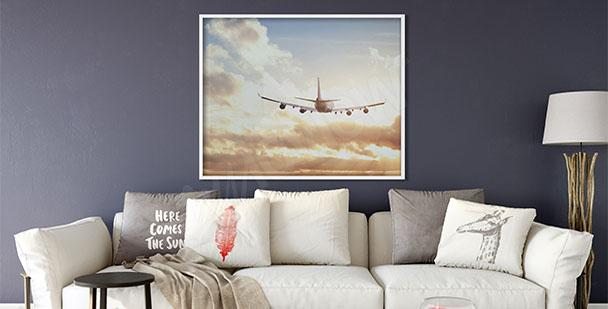 Plakat samolot i zachód słońca