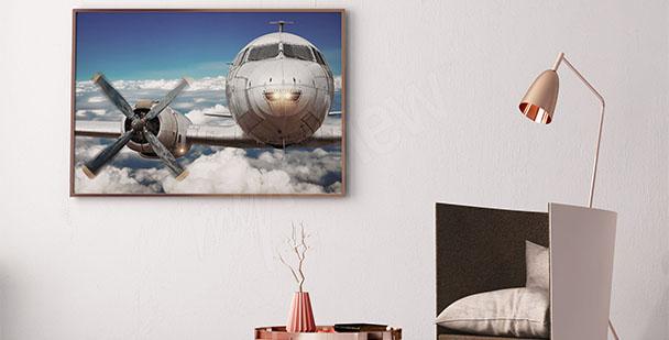 Plakat samolot w chmurach