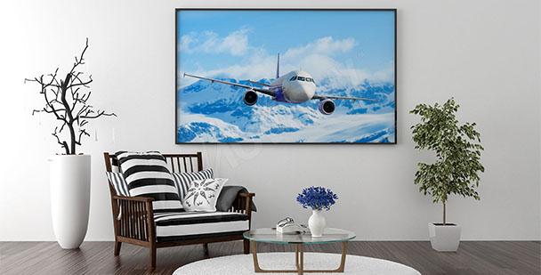 Plakat samolot w górach