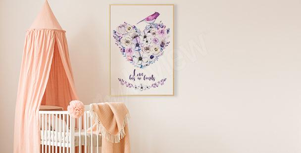 Plakat serce z kwiatów