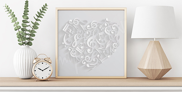 Plakat serce z nutami
