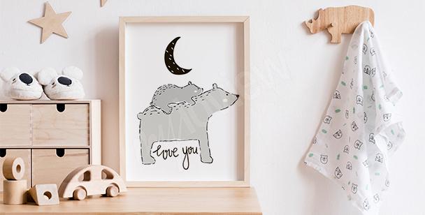 Plakat skandynawski z niedźwiadkami