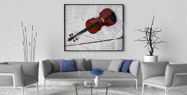Plakat skrzypce i nuty do salonu