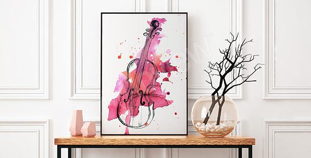 Plakat skrzypce w różowej akwareli