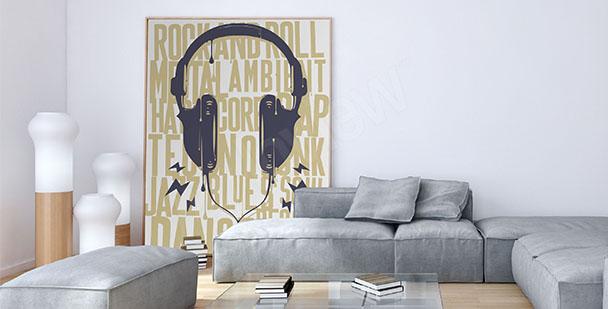 Plakat słuchawki i napisy