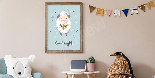 Plakat śpiąca owieczka