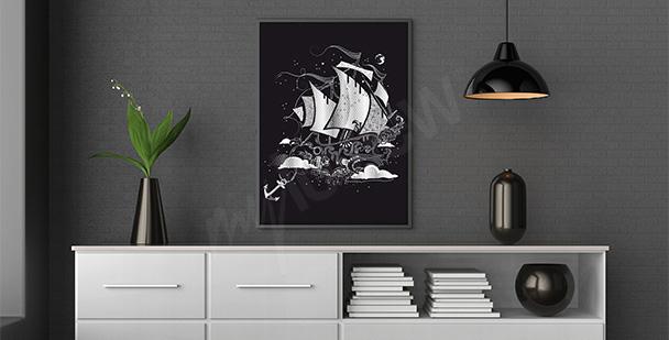 Plakat statek czarno-biały