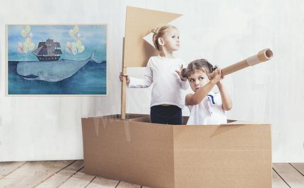Plakat statek do pokoju dziecka