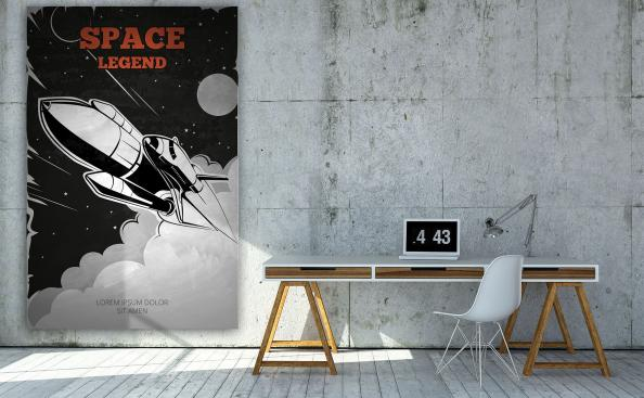 Plakat statek kosmiczny vintage