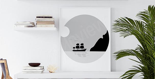 Plakat statek minimalistyczny