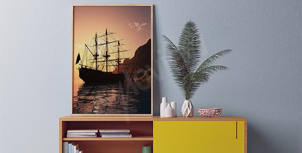 Plakat statek o zachodzie słońca