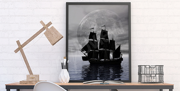 Plakat statek w nocy