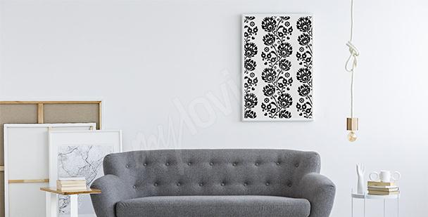 Plakat styl folkowy czarno-biały