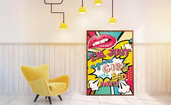 Plakat styl pop art dla dziewczyn
