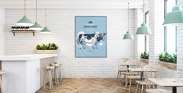 Plakat szczęśliwa farma do bistro
