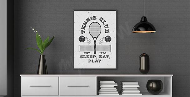 Plakat tenis czarno-biały