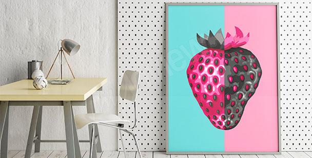 Plakat truskawka pop-art