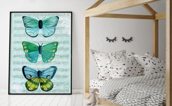 Plakat trzy motyle
