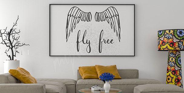 Plakat typograficzny skrzydła anioła