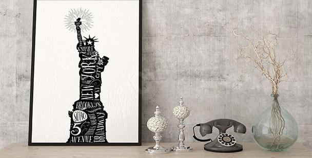 Plakat typograficzny Statua Wolności