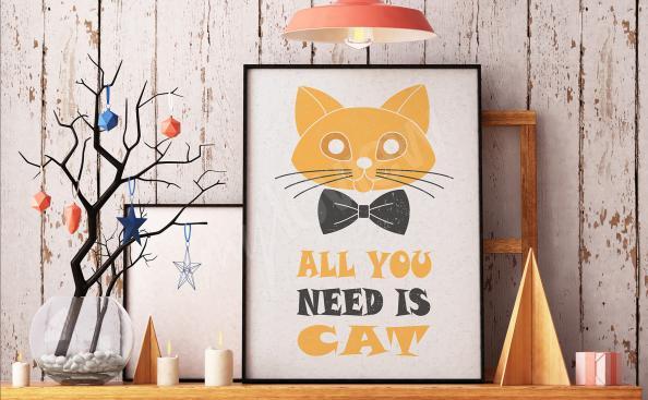 Plakat typograficzny z kotem