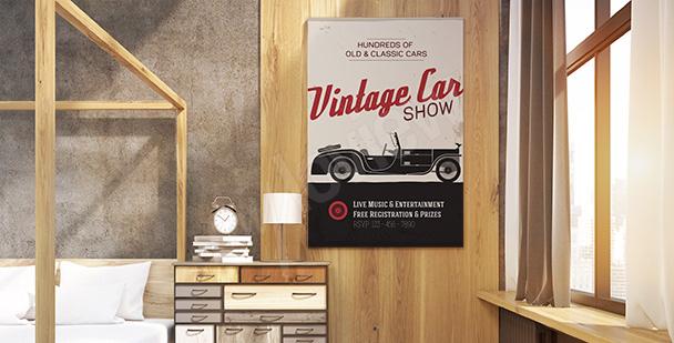 Plakat vintage pokaz motoryzacyjny