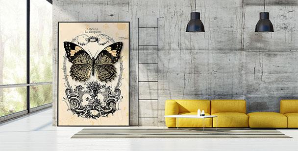 Plakat vintage z motylem