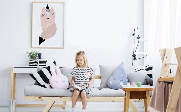 Plakat w stylu skandynawskim z lisem