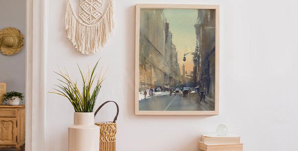 Plakat widok na ulice