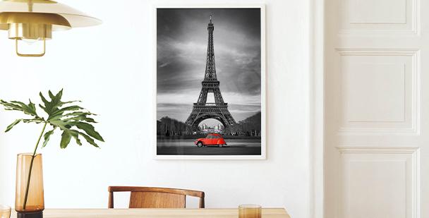 Plakat widok na wieżę Eiffla