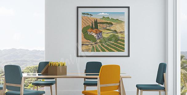 Plakat wiejski krajobraz w Toskani