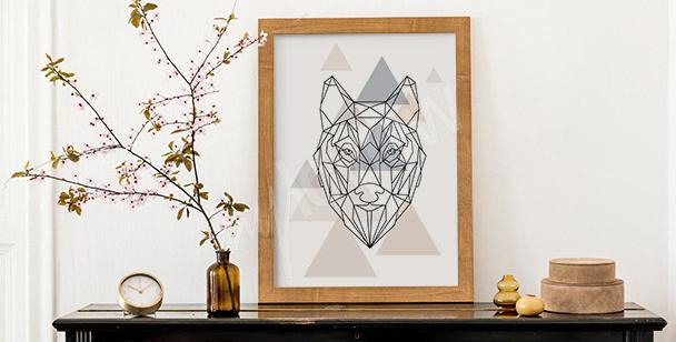Plakat wilk w geometrii