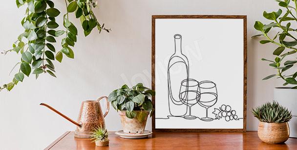 Plakat wino line art