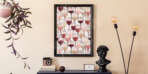 Plakat wino malowane akwarelą