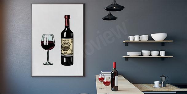 Plakat wino w kieliszku