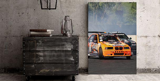 Plakat wyścigi samochodowe