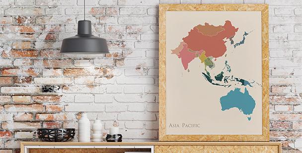 Plakat z Azją i Australią