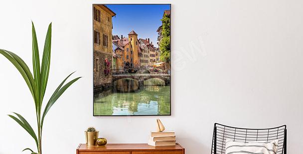 Plakat z barwnym miastem