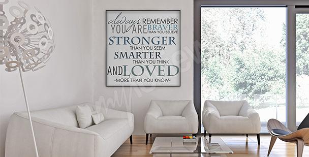 Plakat z cytatem do salonu